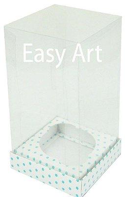 Caixas para Cupcakes - Branco com Poás Azuis