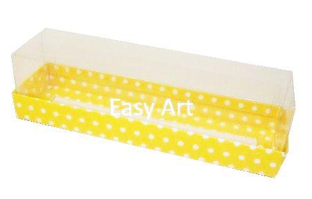 Caixas para 7 Macarons - Amarelo com Poás Brancas