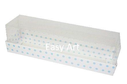 Caixas para 7 Macarons - Branco com Poás Azuis