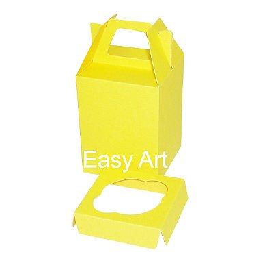 Caixa Maleta para 1 Cupcake - Amarelo