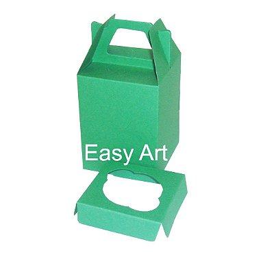 Caixa Maleta para 1 Cupcake - Verde Bandeira