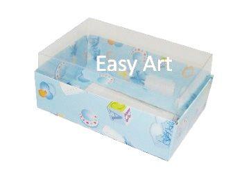 Caixas para 06 Mini Doces / Estampado Bebê Azul