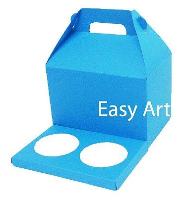 Caixa Maleta para 2 Cupcakes - Azul Turquesa