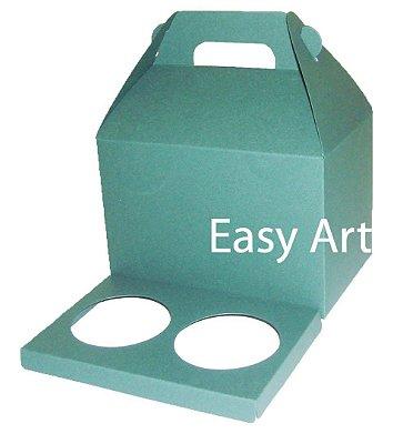Caixa Maleta para 2 Cupcakes - Verde Musgo