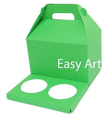 Caixa Maleta para 2 Cupcakes - Verde Pistache