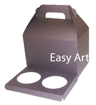 Caixa Maleta para 2 Cupcakes - Marrom Chocolate