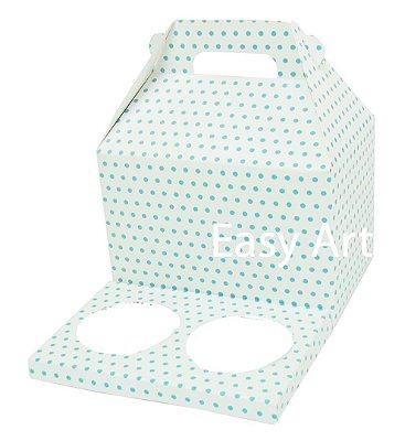 Caixa Maleta para 2 Cupcakes - Branco com Poás Azuis