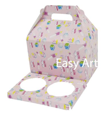 Caixa Maleta para 2 Cupcakes - Estampado Bebê Rosa