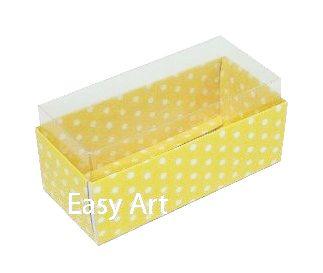 Caixas para 4 Macarons - Amarelo Poás Brancas