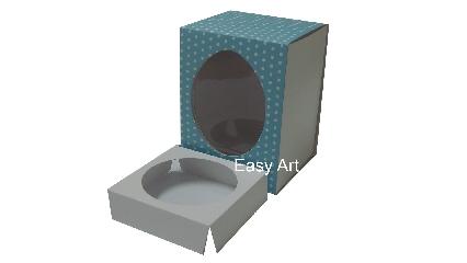 Caixas para Ovos de Páscoa - Azul Poás Brancas