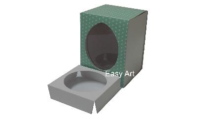 Caixas para Ovos de Páscoa - Verde Poás Brancas