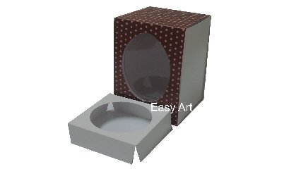 Caixas para Ovos de Páscoa - Marrom Poás Rosa