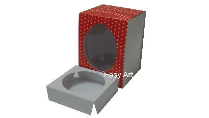 Caixas para Ovos de Páscoa - Vermelho Poás Brancas