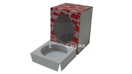 Caixas para Ovos de Páscoa - Rosa com Corações