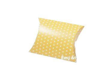 Caixa Almofada - Amarelo com Poás Brancas