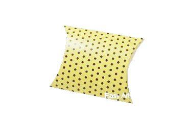 Caixa Almofada - Amarelo com Poás Marrom