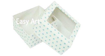 Caixa para 4 Brigadeiros - Branco com Poás Azuis