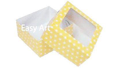 Caixa para 4 Brigadeiros - Amarelo com Poás Brancas