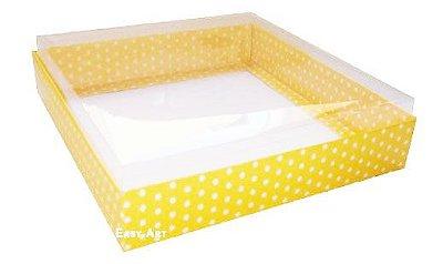 Caixa para 16 Brigadeiros - Amarelo Poás Brancas