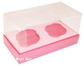 Caixas para 2 Mini Cupcakes - Rosa Claro