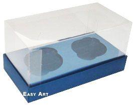 Caixas para 2 Mini Cupcakes - Azul Marinho