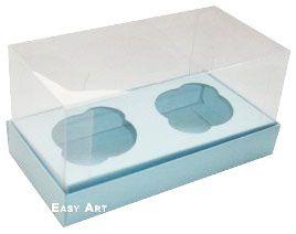 Caixas para 2 Mini Cupcakes - Azul Claro
