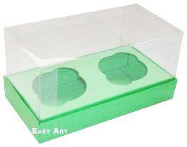Caixas para 2 Mini Cupcakes - Verde Pistache