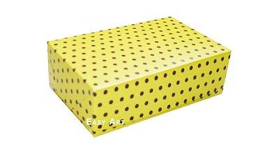Caixas para 6 Brigadeiros - Amarelo com Poás Marrom