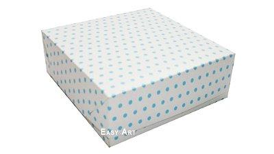 Caixas para 25 Brigadeiros - Branco com Poás Azuis