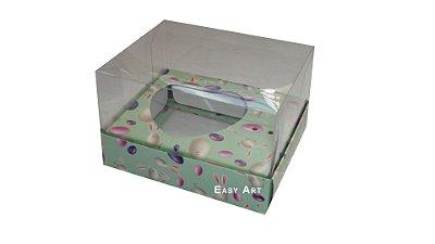 Caixa Coração de Colher - Verde Estampado Coelhos