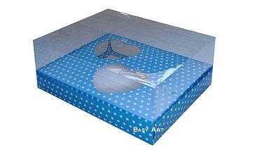 Caixa Coração de Colher - Azul Poa Branca