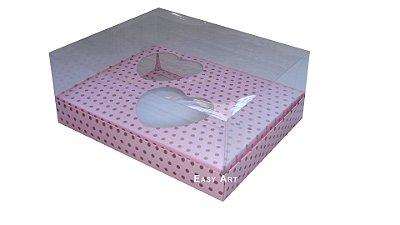 Caixa Coração de Colher - Rosa Poa Marrom
