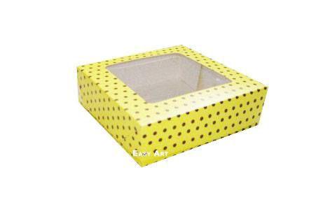 Caixa para 25 Brigadeiros - Amarelo com Poás Marrom