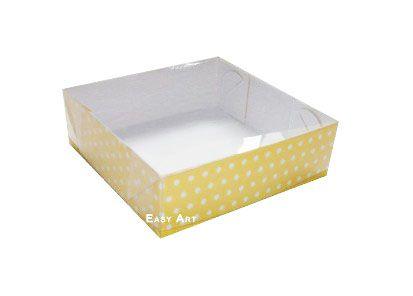 Caixas para 4 Brigadeiros - Amarelo com Poás Brancas