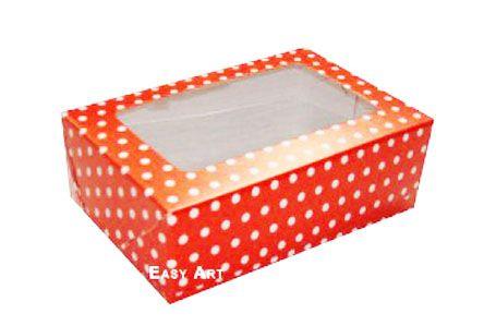 Caixas para 3 Brigadeiros - Vermelho com Poás Brancas