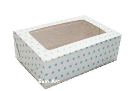 Caixas para 3 Brigadeiros - Branco com Poás Azuis