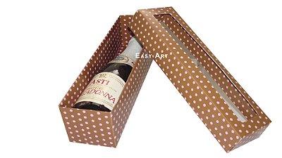 Caixa para Mini Champanhe / Vinho - Com Visor - 21x6x6