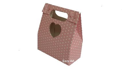 Embalagens para Presentes / Rosa com Poás Brancas - 12,5x6x14,5