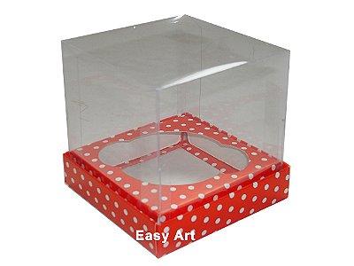 Caixas  Especiais para Cupcakes - 10x10x10 / Vermelho com Poás Brancas