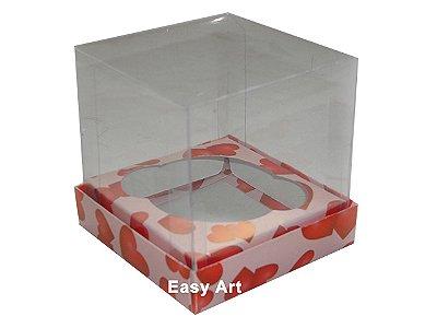 Caixas  Especiais para Cupcakes - 10x10x10 / Rosa com Corações Vermelhos