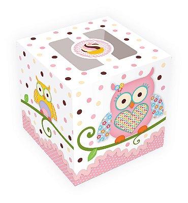 Caixa para cupcakes / Tema Corujinha - 8,5x8,5x8,5