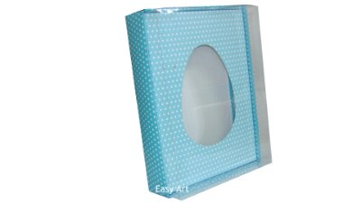 Caixas Ovos de Colher - 1 K Azul com Poás Brancas
