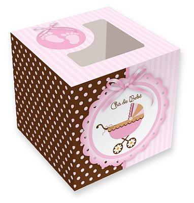 Caixa para cupcakes / Chá de Bebê Menina - 8,5x8,5x8,5