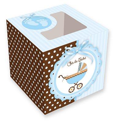 Caixa para cupcakes / Chá de Bebê Menino - 8,5x8,5x8,5