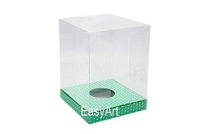 Caixa para Ovos de Páscoa de Pé - Verde Póas Brancas