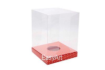 Caixa para Ovos de Páscoa de Pé - Vermelho Poás Brancas
