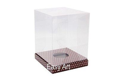 Caixa para Ovos de Páscoa de Pé - Marrom Poás Rosa