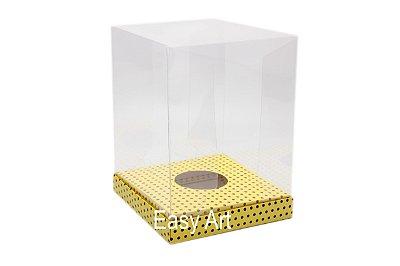 Caixa para Ovos de Páscoa de Pé - Amarelo Poás Marrom