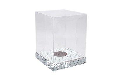Caixa para Ovos de Páscoa de Pé - Branco Poás Azuis