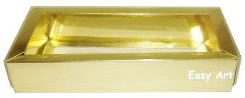 Caixa para 10 Brigadeiros / Tampa Transparente - Dourado